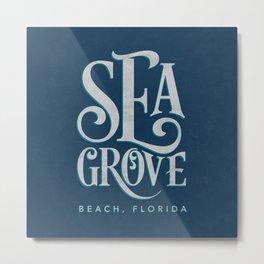 Seagrove Beach Typography (blue) Metal Print