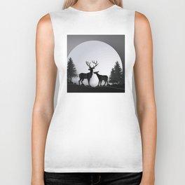 deer in forest with full moon Biker Tank