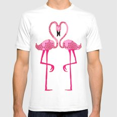 Flamingo  in love White MEDIUM Mens Fitted Tee