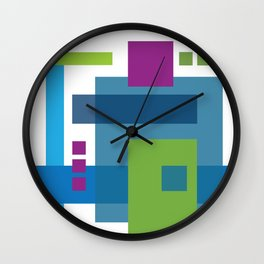 Turquoise Colorblock Wall Clock