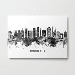 Bordeaux France Skyline BW Metal Print