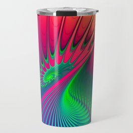 Outburst Spiral Fractal neon colored Travel Mug