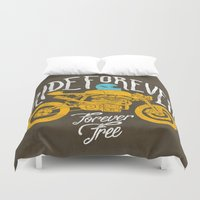 motorbike Duvet Covers featuring forever by The Junkers