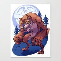 werewolf Canvas Prints featuring Werewolf by Frankie Green