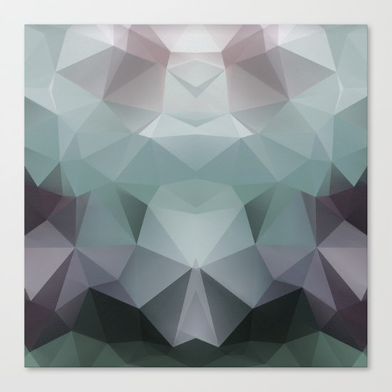 Abstract geometric polygonal pattern in grey and green tones . Canvas Print