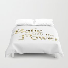 Labyrinth Babe With The Power (white bg) Duvet Cover