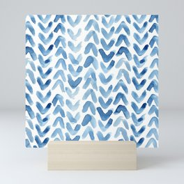 Blue Chevron Watercolour Mini Art Print