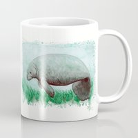 manatee Mugs featuring The Manatee ~ Watercolor by Amber Marine by Amber Marine