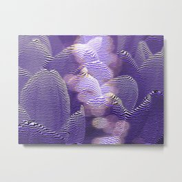 Striped crocus petals with bokeh effect Metal Print