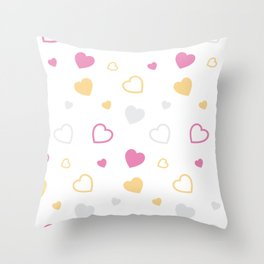 Stylized hearts pattern Throw Pillow