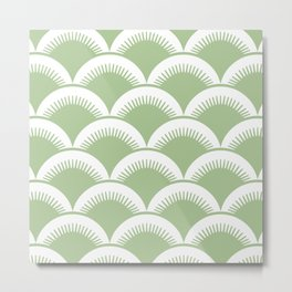 Japanese Fan Pattern Sage Green Metal Print