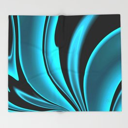 Abstract Fractal Colorways 02 Pacific Blue Throw Blanket
