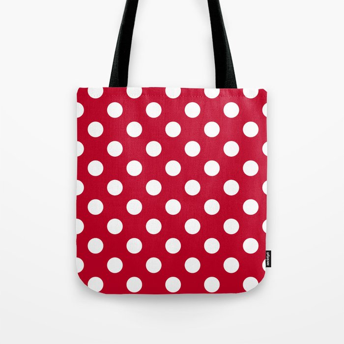 Red and Polka White Dots Tote Bag