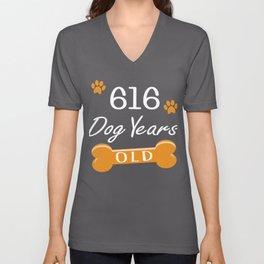 616 Dog Years Old Funny 88th Birthday Puppy Lover print Unisex V-Neck
