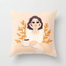 Coffee Shop Afternoon Throw Pillow