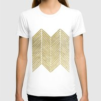 gold foil T-shirts featuring Gold Foil Chevron by Berty Bob