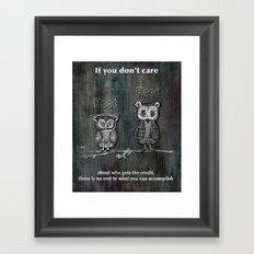 Two Hoots Framed Art Print