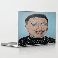 robin williams Laptop & iPad Skins featuring Robin Williams Portrait by Tania Allman Art