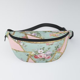 Modern abstract gold pink green floral triangles Fanny Pack