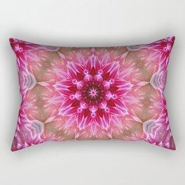 Boho Pink Dahlia Mandala Rectangular Pillow