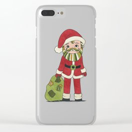 Santa Claus with beard and green mustache and sack with gifts Clear iPhone Case
