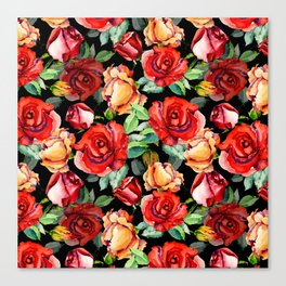 Hand painted black red watercolor roses floral Canvas Print