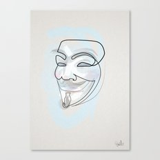One line mask: V Canvas Print