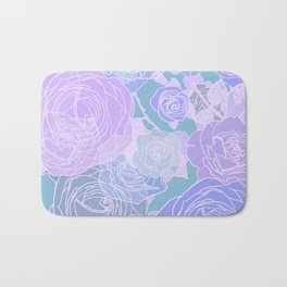 Preppy Purple and Seafoam Green Abstract Contemporary Romantic Roses Bath Mat