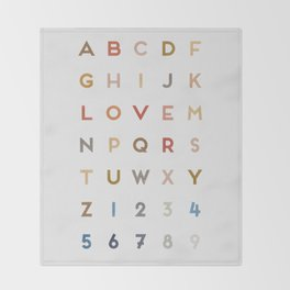 Letter Love - Color Throw Blanket