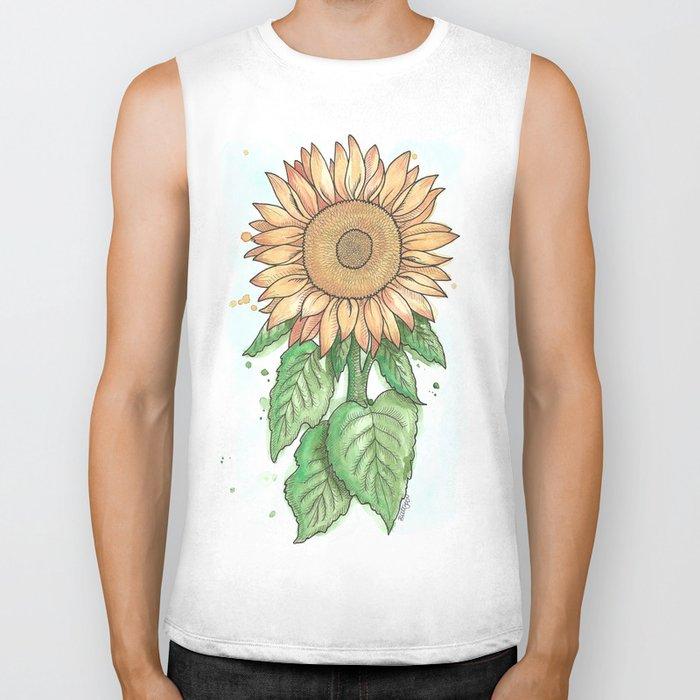 Cheerful Sunflower Biker Tank