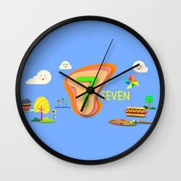 Number seven - Kids Art Wall Clock