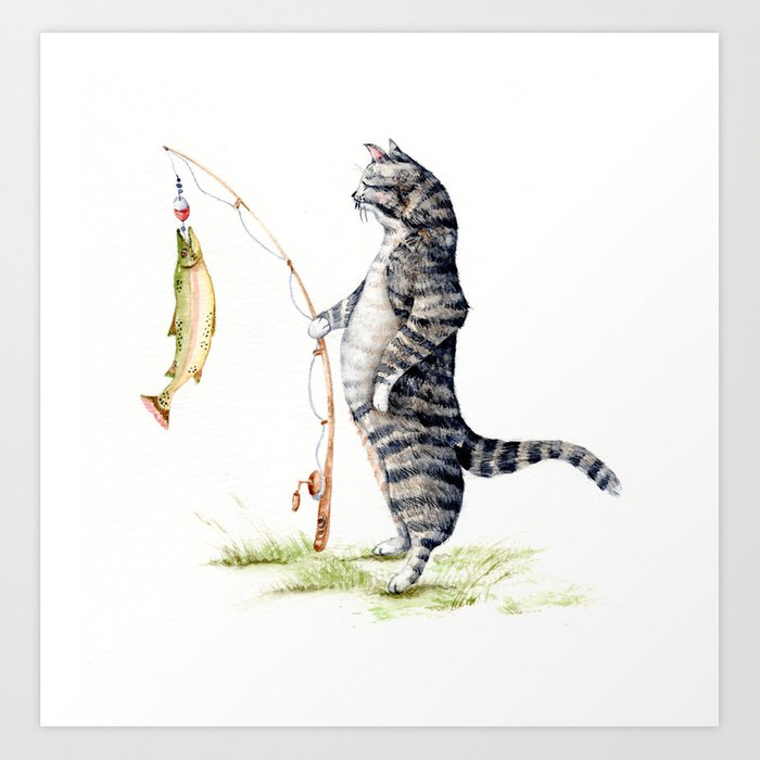 Cat with a Fish Art Print