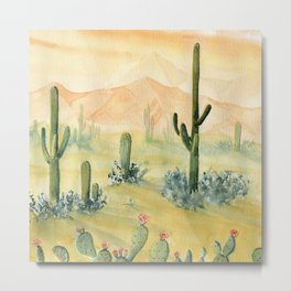 Desert Sunset Landscape Metal Print