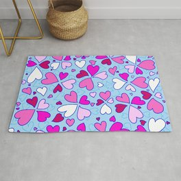 Abstract Pink and Blue Heart Pattern Love Art by Megan Duncanson MADART Rug