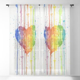 Rainbow Heart Watercolor Sheer Curtain
