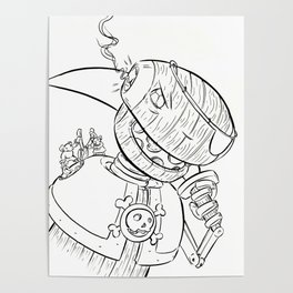 Robot Pirate - ink Poster