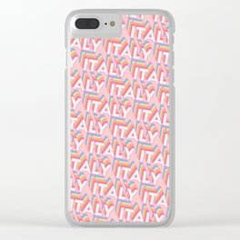 Italy Trendy Rainbow Text Pattern (Pink) Clear iPhone Case