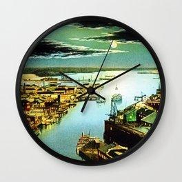 Providence River & Narragansett Bay, Circa 1900 Portrait Painting Wall Clock