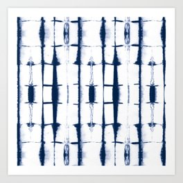 Shibori Stripes 4 Indigo Blue Art Print