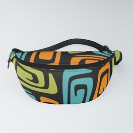 Mid Century Modern Cosmic Abstract 739 Black Green Blue and Orange Fanny Pack