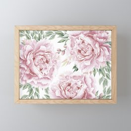 Girly Pastel Pink Roses Garden Framed Mini Art Print