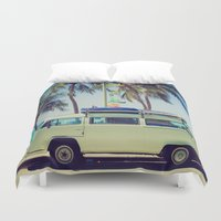 vw bus Duvet Covers featuring VW Bus Beach Vacation by Limitless Design