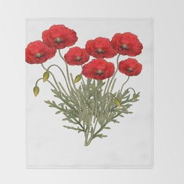 Flanders Red Poppy Throw Blanket