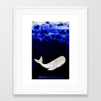 dick Framed Art Prints featuring Moby Dick by Prelude Posters