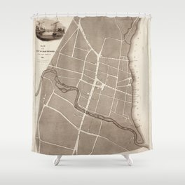 Map of Hartford 1824 Shower Curtain