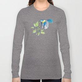 Flying Birds and Oak Leaves on Blue Long Sleeve T-shirt