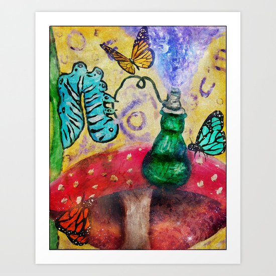 Alice in wonderland Blue hookah caterpillar Art Print