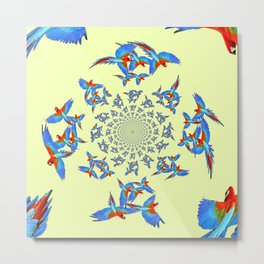MODERN ART FLOCK OF  BLUE MACAW PARROTS Metal Print