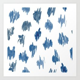 Brushstrokes of blue paint Art Print