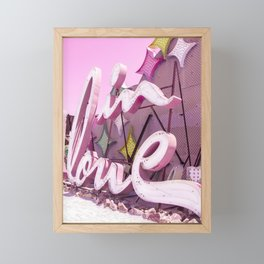 "Pink ""In Love"" Sign at the Neon Museum in Las Vegas, Nevada Framed Mini Art Print"
